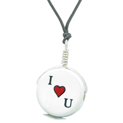 Handcrafted Cute Ceramic Lucky Charm I Love You Heart Amulet Pendant Adjustable Necklace