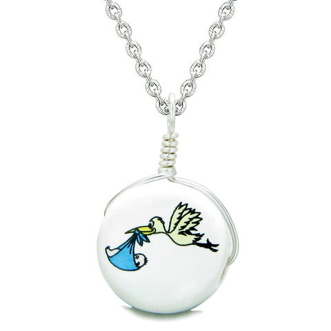 Handcrafted Cute Ceramic Lucky Charm Stork Caring Baby Boy Amulet Pendant 22 Inch Necklace