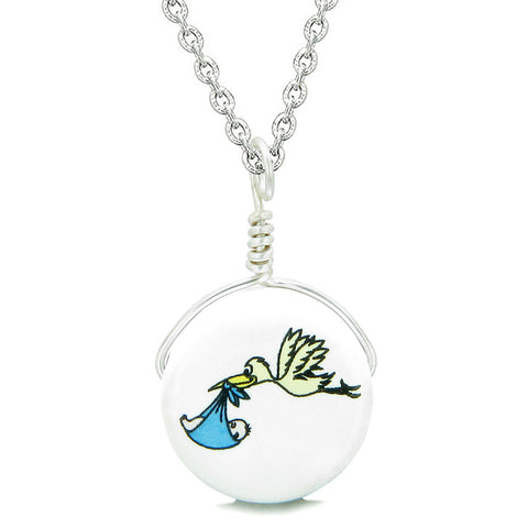 Handcrafted Cute Ceramic Lucky Charm Stork Caring Baby Boy Amulet Pendant 18 Inch Necklace