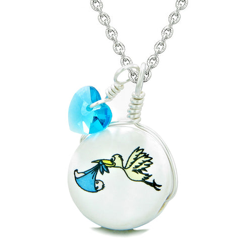 Handcrafted Cute Ceramic Lucky Charm Stork Caring Baby Boy Blue Heart Amulet Pendant 18 Inch Necklace