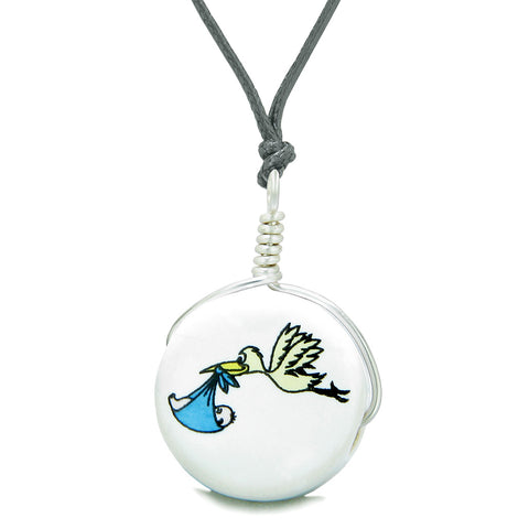 Handcrafted Cute Ceramic Lucky Charm Stork Caring Baby Boy Blue Heart Amulet Pendant Adjustable Necklace