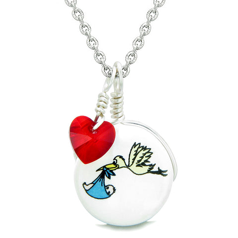 Handcrafted Cute Ceramic Lucky Charm Stork Caring Baby Boy Red Heart Amulet Pendant 22 Inch Necklace
