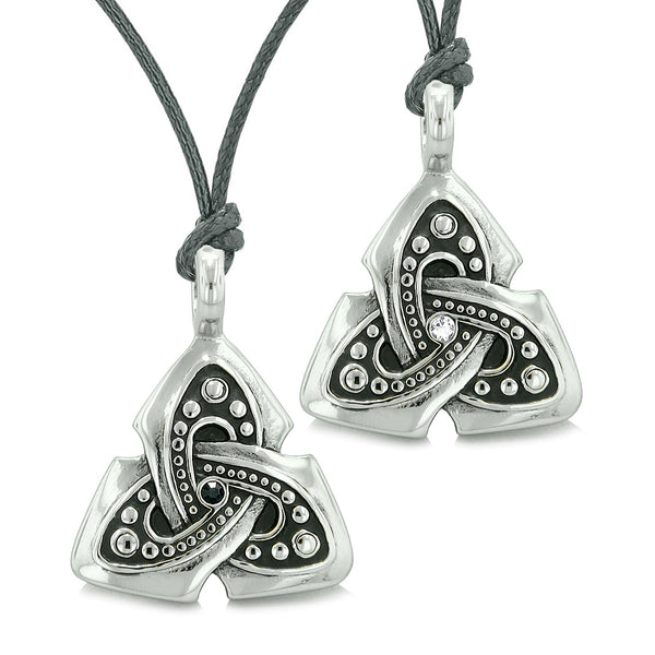 Ancient Viking Celtic Triquetra Knot Amulets Love Couples Best Friends Black White Necklaces