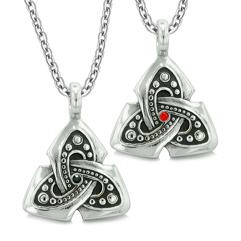 Ancient Viking Celtic Triquetra Knot Amulets Love Couples or Best Friends Set Black Red Necklaces