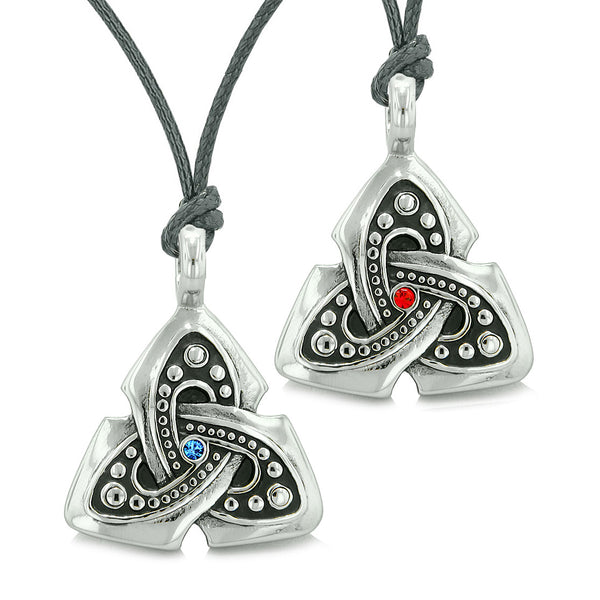 Ancient Viking Celtic Triquetra Knot Amulets Love Couples Best Friends Set Blue Red Necklaces
