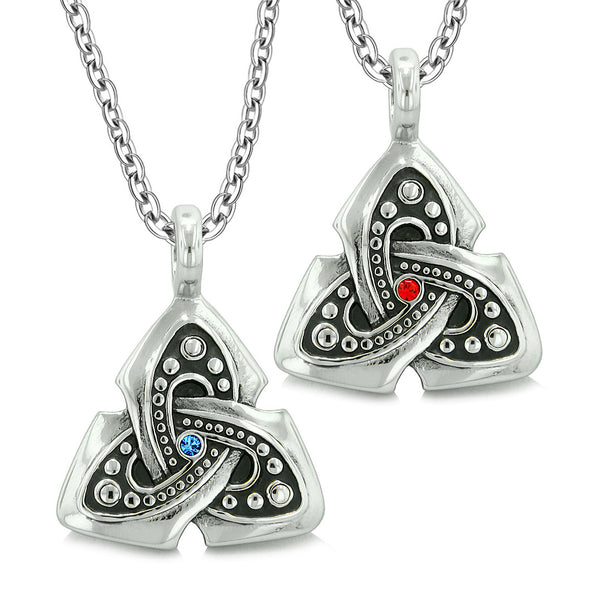 Ancient Viking Celtic Triquetra Knot Amulets Love Couples or Best Friends Set Blue Red Necklaces