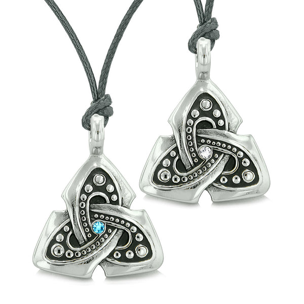 Ancient Viking Celtic Triquetra Knot Amulets Love Couples or Best Friends Blue White Necklaces