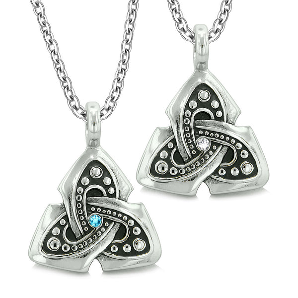 Ancient Viking Celtic Triquetra Knot Amulets Love Couples or Best Friends Set Blue White Necklaces