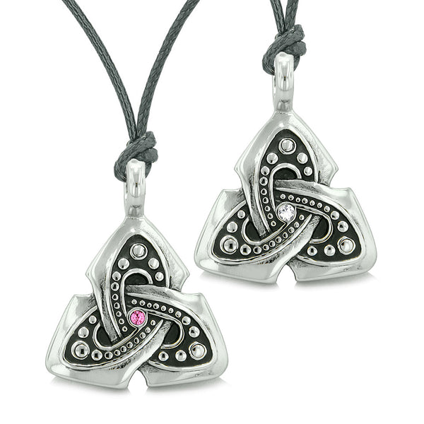 Ancient Viking Celtic Triquetra Knot Amulets Love Couples or Best Friends Pink White Necklaces
