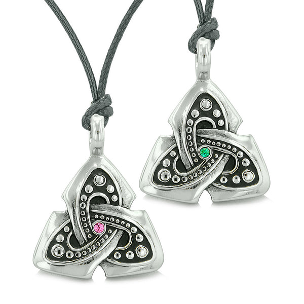 Ancient Viking Celtic Triquetra Knot Amulets Love Couples or Best Friends Green Pink Necklaces