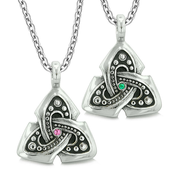 Ancient Viking Celtic Triquetra Knot Amulets Love Couples or Best Friends Set Green Pink Necklaces