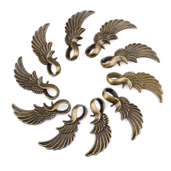 20 Pieces Guardian Angel Magic Wing Charms Findings for Jewelry Pendants Necklace Making 15mm X 3mm