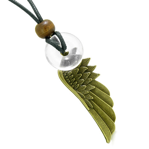 Guardian Angel Wings Magic Amulets Couples Best Friends Tiger Eye Crystal Quartz Donut Necklaces