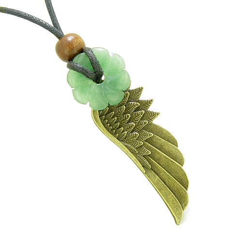Guardian Angel Wing Protection Amulet Lucky Celtic Flower Donut Charm Green Quartz Pendant Necklace