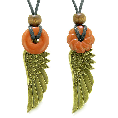 Guardian Angel Wings Amulets Love Couples Best Friends Red Jasper Flower Celtic Donut Necklaces