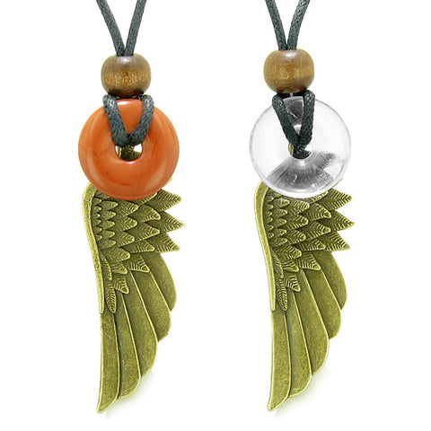 Guardian Angel Wings Magic Amulets Couples Best Friends Red Jasper Crystal Quartz Donut Necklaces