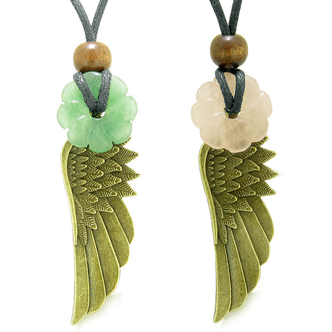 Guardian Angel Wings Amulets Couples Best Friends Green Rose Quartz Celtic Flower Donut Necklaces