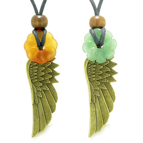 Guardian Angel Wings Amulets Love Best Friend Green Quartz Carnelian Celtic Flower Donut Necklaces