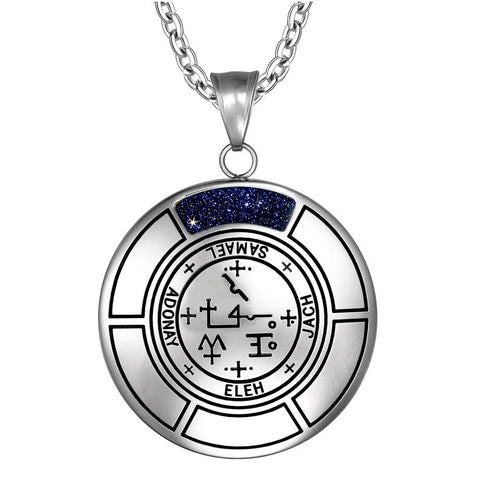 Sigil of Archangel Samael Magic Medallion Angel Amulet Pendant Necklace