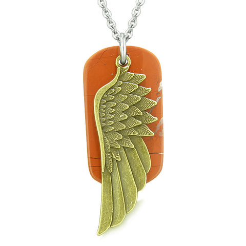 Amulet Guardian Angel Wing Magical Protection Powers Red Jasper Tag Pendant 18 Inch Necklace