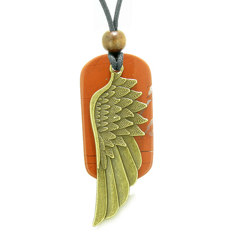 Amulet Guardian Angel Wing Protection Magical Powers Red Jasper Tag Pendant Adjustable Necklace