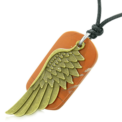 Amulet Guardian Angel Wing Magical Protection Powers Red Jasper Tag Pendant Adjustable Necklace