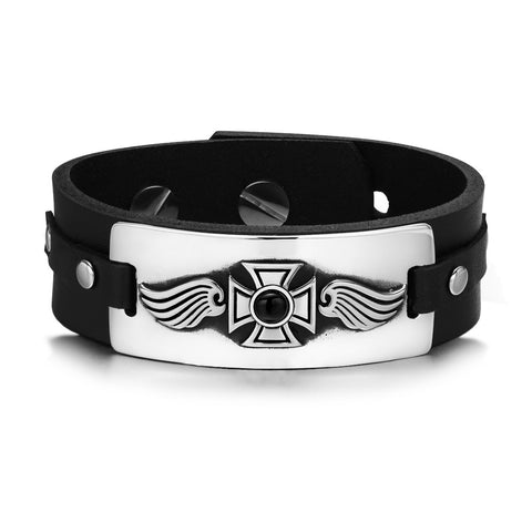 Guardian Angel Wings Viking Celtic Cross Magic Amulet Simulated Onyx Adjustable Leather Bracelet