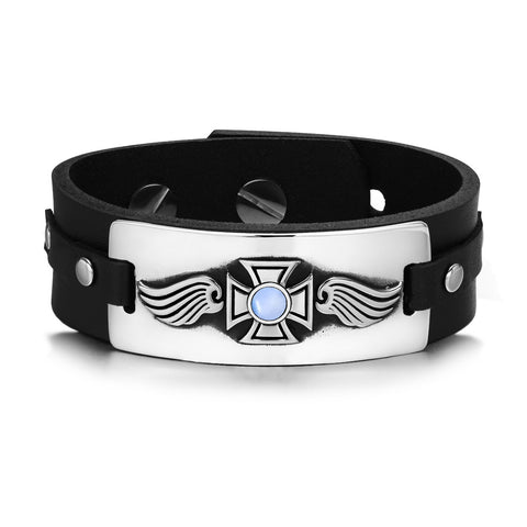 Guardian Angel Wings Viking Celtic Cross Magic Amulet Blue Simulated Cats Eye Leather Bracelet