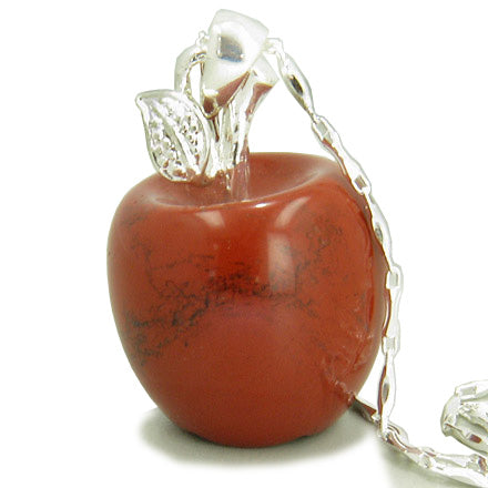 Apple Pendant in Red Jasper Gemstone Sterling Silver 18 Necklace