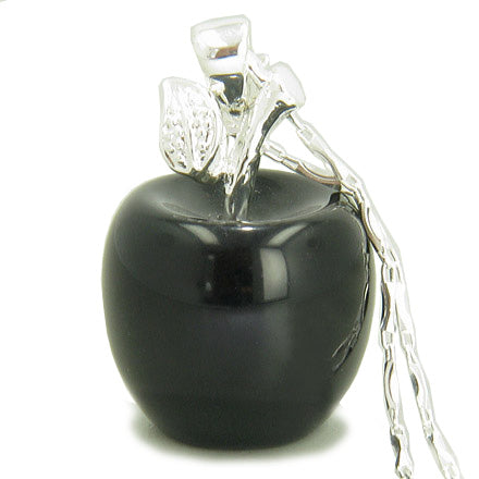 "Apple Pendant In Black Onyx Gemstone Silver 18"" Necklace"