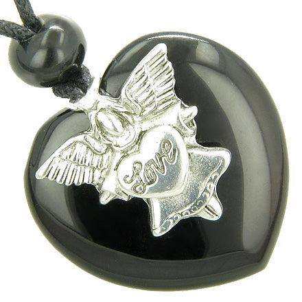 Guardian Spirit Angel Love Heart Amulet Spiritual Protection Black Onyx Gemstone Pendant Necklace