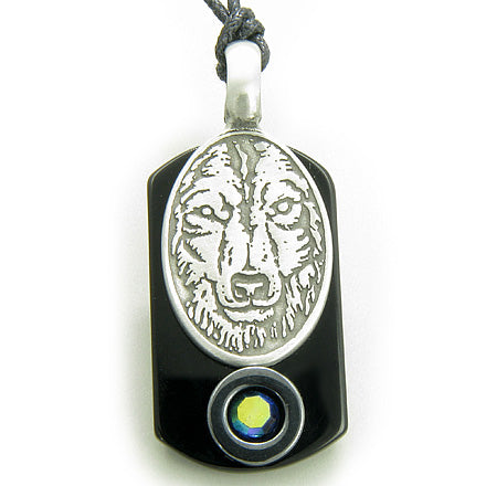Amulet Wise Wolf Head Tag Black Onyx and Hematite Magic Pendant Necklace