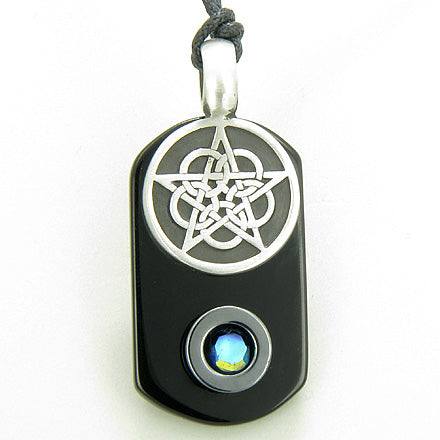Amulet Magic Celtic Star Pentacle Spiritual Tag Black Onyx and Hematite Pendant Necklace