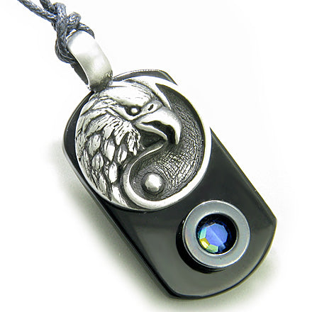 Amulet Lucky Ying Yang and Eagle Spiritual Tag Black Onyx and Hematite Magic Pendant Necklace