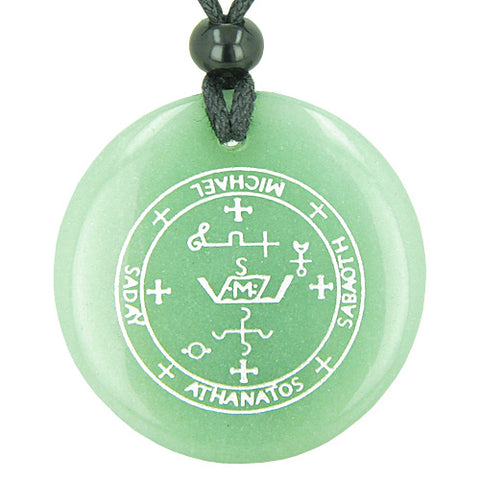 Sigil of the Archangel Michael Magical Amulet Green Aventurine Circle Spiritual Pendant Necklace