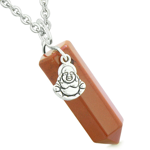 Happy Laughing Buddha Magic Powers Amulet Crystal Point Pendant Red Jasper 18 inch Necklace