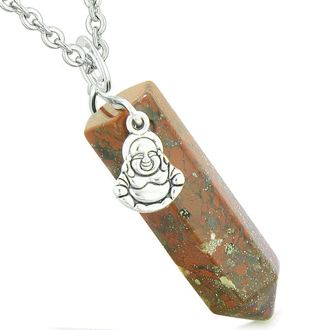 Happy Laughing Buddha Magic Powers Amulet Crystal Point Pendant Dragon Blood Jasper Necklace
