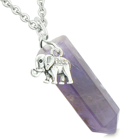 Lucky Elephant Charm Magic Powers Amulet Crystal Point Pendant Purple Quartz 22 Inch Necklace