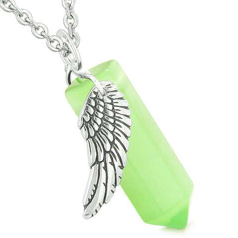 Amulet Angel Wing Magic Energy Crystal Point Green Simulated Cats Eye Pendant Necklace