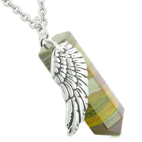 Amulet Angel Wing Magic Energy Wand Crystal Point Tiger Eye Iron Crystal Pendant 22 Inch Necklace