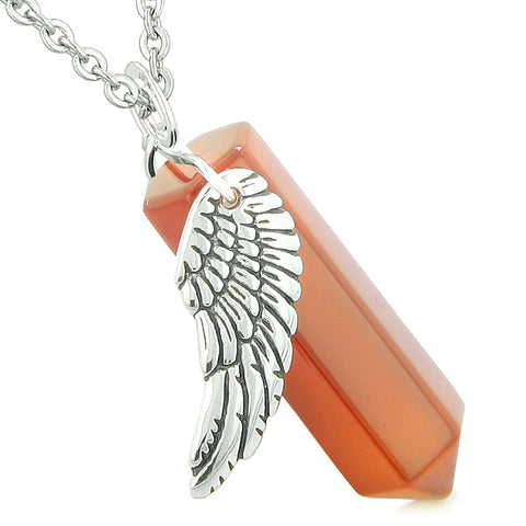 Amulet Angel Wing Magic Energy Wand Crystal Point Carnelian Crystal Pendant 22 Inch Necklace