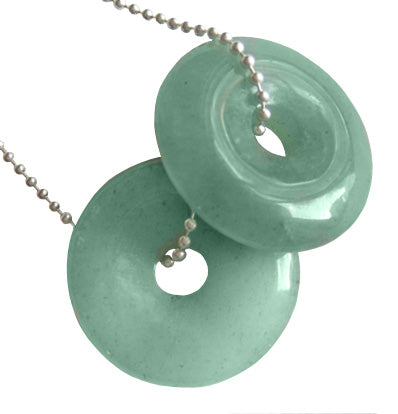 Aventurine Crystal Donuts Money Talisman With Silver Chain