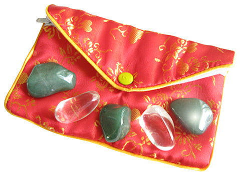 Money Talisman Pouch In Aventurine And Crystals