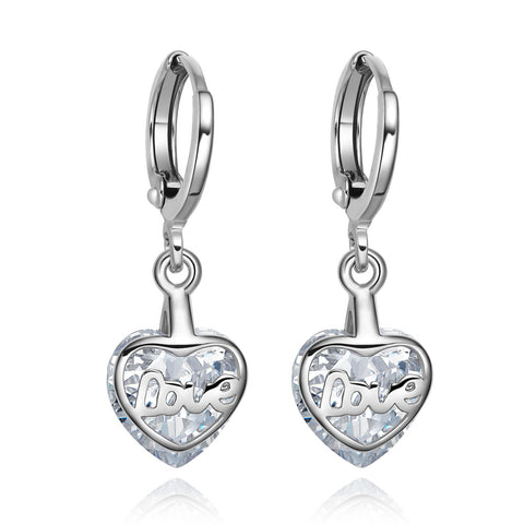 Small Very Cute Unique Love Couples Hearts Silver-Tone White Crystals Magic Fashion Earrings