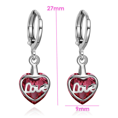 Small Very Cute Unique Love Couples Heart Silver-Tone Cherry Red Crystal Magic Fashion Earrings