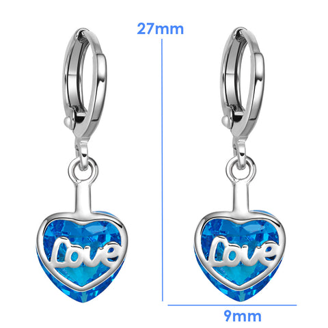 Small Very Cute Unique Love Couples Heart Silver-Tone Ocean Blue Crystal Magic Fashion Earrings