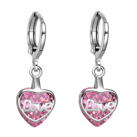 Small Very Cute Unique Love Couples Heart Silver-Tone Sweet Pink Crystal Magic Fashion Earrings