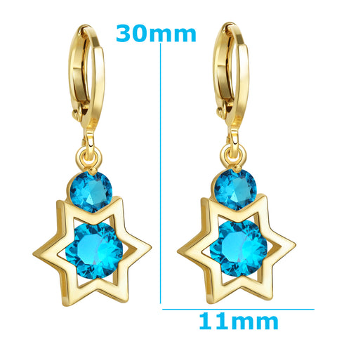 King of Solomon Gold-Tone Star of David Lucky Charms Magic Blue Sparkling Crystals Amulets Earrings