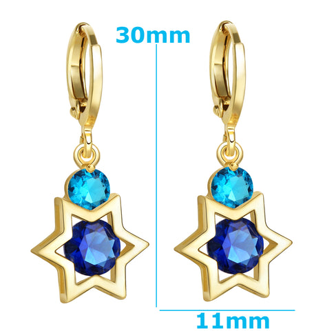 King of Solomon Gold-Tone Star of David Lucky Charms Magic Ocean Sky Blue Crystals Amulets Earrings