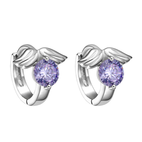 Tiny Small Cute Angel Wings Lucky Charms Purple Crystals Silver-Tone Positive Energy Earrings
